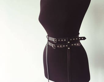 Double Leather Belt with Garters   Black Leather   Leather Harness   Body Harness   Chest Harness   Leather Top   Leather Belt   Harness Bra