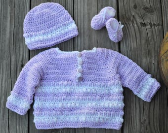 Crochet Baby Girl Sweater Set Lilac White