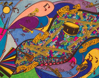 RHYTHM HIGHWAY II ... Abstract..Music Art..Ink Drawing..Free Shipping..Original..Color Ink..Music..Instruments..Guitar..Drums..Notes..Jazz