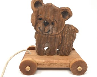 Hand-carved Bear pull toy- Heirloom-Traditional Pull-Toy-New Vintage Style-Handmade Wooden Children's Toy