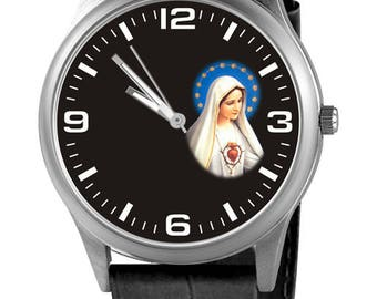 Personalized watch with the Virgin of Fatima, custom watch