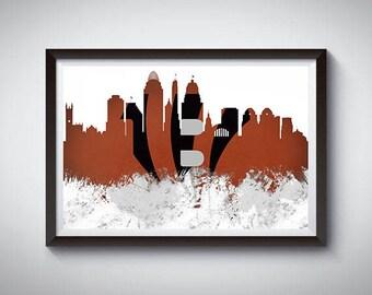 Cincinnati Skyline Inspired Art Poster Print, Cincinnati Skyline Poster