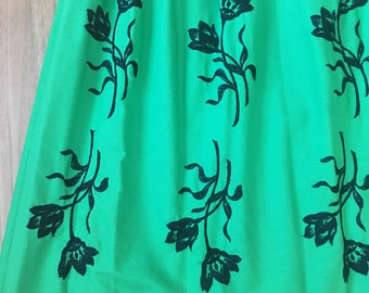 50s Green Embroidered Garden Party Dress