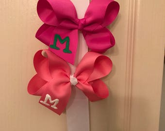 Hand painted Monogram Twisted Bow