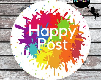 Happy Post Labels | Happy Post Stickers, Happy Mail, Envelope Seal, Packaging Labels, Parcel Sticker, Company Label, Postal Label