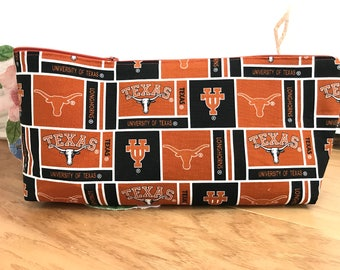 University of Texas Longhorn fabric handmade one of a kind zipper bag, zipper pouch, cosmetic or makeup bag