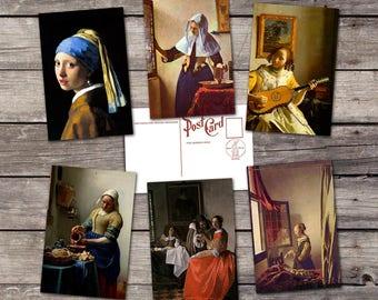 Jan Vermeer set 6 postcards |  vintage dutch painting | fine art print | girl pearl earring illustration | renaissance | postcard set