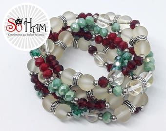 Bracelet Murano and Crystal, hematite, Vintage, red, green, gift for women.