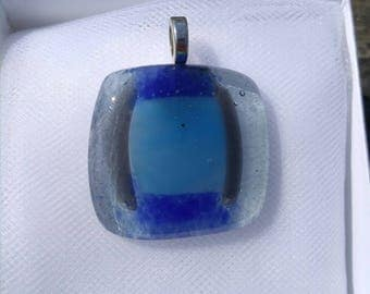 Ocean Blue Glass Fused Pedant, FREE SHIPPING