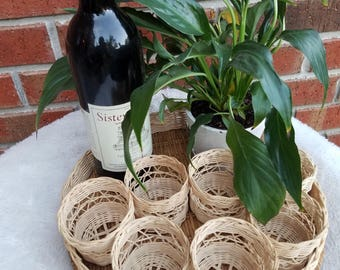 Wicker drink holders with Serving tray