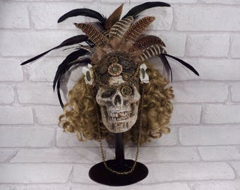 Steampunk Curly haired Skull with Feather Headdress