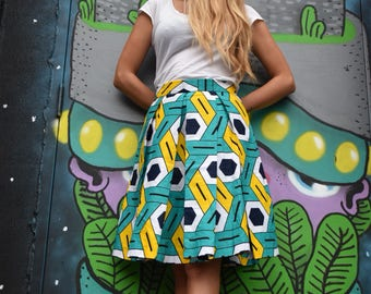 Hand made wax pleated skirt white green yellow colors