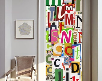 Removable Wallpaper Mural Peel & Stick Door Sticker Newspaper Clippings