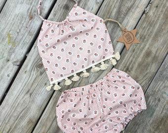 Girls clothing sets- girls summer clothing-boho baby- 2 piece sunsuit- dandelion