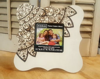 Mandala Zentangle picture frame Wood Burned