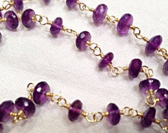 Amethyst Rosary Chains, Nugget Beaded Chains, Gold Plated Wire Wrapped Rosary Chains, Amethyst Chips Chain, Sold By Foot (AME-0001)