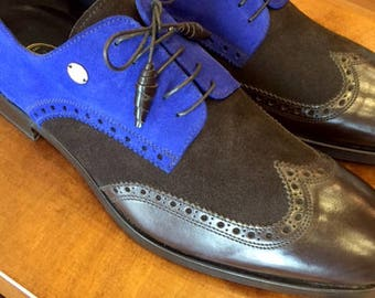 Blue and Brown Suede Luxury Men's Dress Shoes