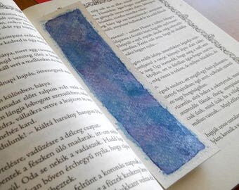 Blue shiny watercolor original art unique bookmark, book lover gift