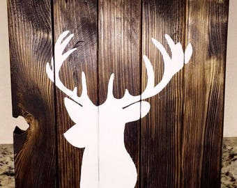 Deer Antler Wood Sign