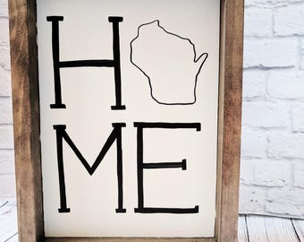 Wisconsin Home Wood Framed Sign