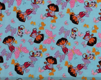 Fabric Dora the Explorer blue butterfly pink Boots Monkey BTHY 1/2 By The Half Yard FQ Fat Quarter