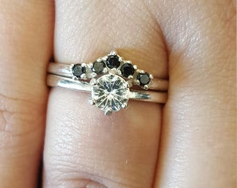 Moissanite and diamond engagement ring