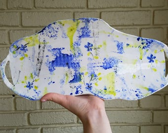 Asymetric Hand-Built Ceramic Serving Platter with Handles