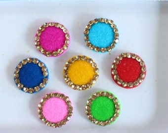 Multicolor Wedding Round Bindis ,Round Bindis,Velvet Colorful Bindis,Colorful Face Jewels Bindis,Bollywood Bindis,Self Adhesive Stickers