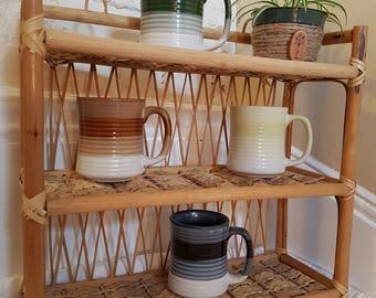 Vintage ceramic coffee mugs and tea mugs, retro mugs 4, blue mug, green mug, yellow mug, brown mug, 1970 mugs
