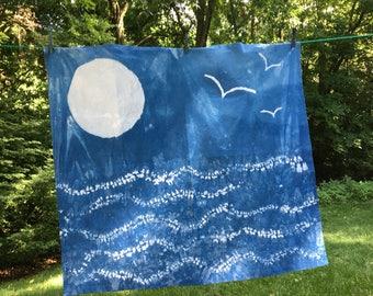 Indigo Dyed Water Tapestry