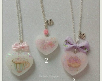 Hearts Necklaces with resin sticker