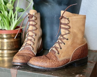 Vintage Justin 1879 Two Tone Leather Lace Up Boots, Ankle Boots, Brown
