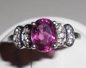Pink Rubellite Tourmaline & Morganite 10k White Gold Ring