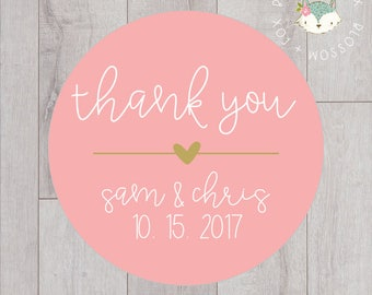 Wedding Stickers, Thank You Stickers, Personalized Wedding Stickers, Favor Stickers, Favor Tags, Thank you Tags, Wedding Favors, S002