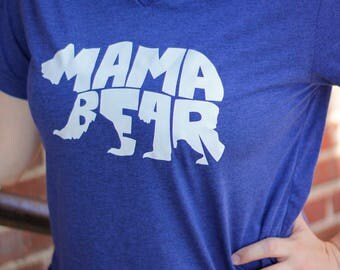 Mama Bear, Momma shirt, Mom tshirt, cute mom shirt, Mom, Motherhood, Momma bear, Mama Bear Tshirt, Blue Mama bear shirt
