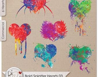 Bold Splatter Hearts 03, Transparent PNG , PNG Elements, Digital Scrapbook | Clipart | Printable Designers Resources