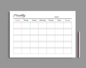 Printable Monthly Planner A4 A5 Letter / Monthly Planner Printable / Monthly Calendar / Desk planner / Undated / #204