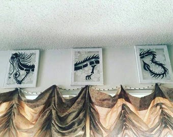 3 peice upcycled lace canvas black and white Dragons