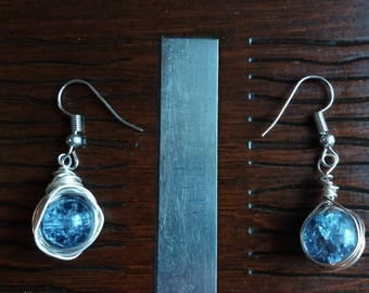 Wire Wrapped Bead Hook Earrings
