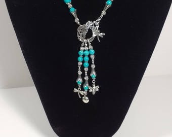 Turquoise Riverstone, 24in Necklace, Pendant, Antique Silver plated