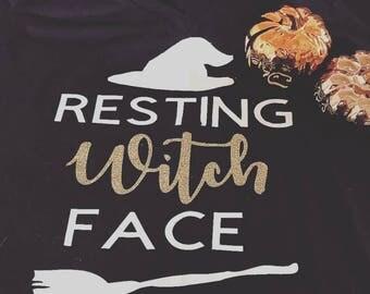 Rest Witch Face | Shirt | V-neck | Halloween | Cute | Vinyl | Fall