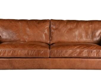 Aniline brown leather sofa