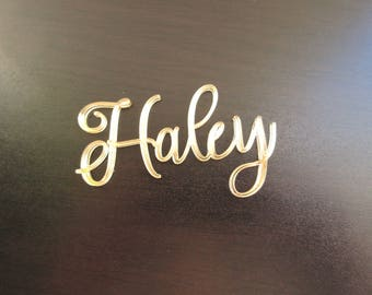 Gold Mirror Acrylic Wedding Signs, Custom Name Signs, Wedding Place Cards, Seating Cards, Event Place Guest Names, Acrylic Table Decor