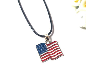 Necklace USA - Necklace America - American Flag - Necklace Country - Leather Necklace - Necklace for Men - Necklace for Women