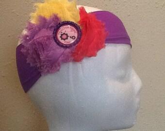 Tractor ridin girl bottle cap / yellow/purple/pink hair bow with purple headband