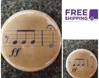 "1"" Beethoven's 5th Sheet Music Button Pin  or Magnet, FREE SHIPPING & Coupon Codes"