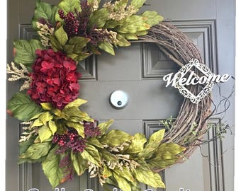 Everyday wreath - Christmas wreath - Fall wreath - Autumn wreath - Welcome wreath - Hydrangea wreath - Front door wreath