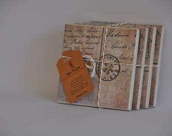 Colonial post ceramic tile coasters