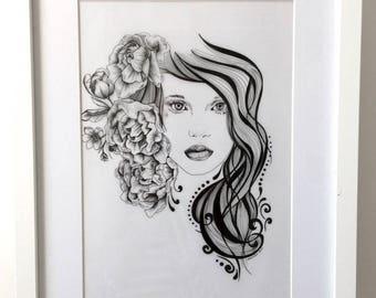 Flower Girl  Original Pen Drawing