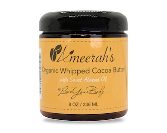 Organic Whipped Cocoa Butter & Sweet Almond Oil (8 Oz) - Create Your Own Body Butter - Choose Essential Oils, Carrier Oils and Fragrance